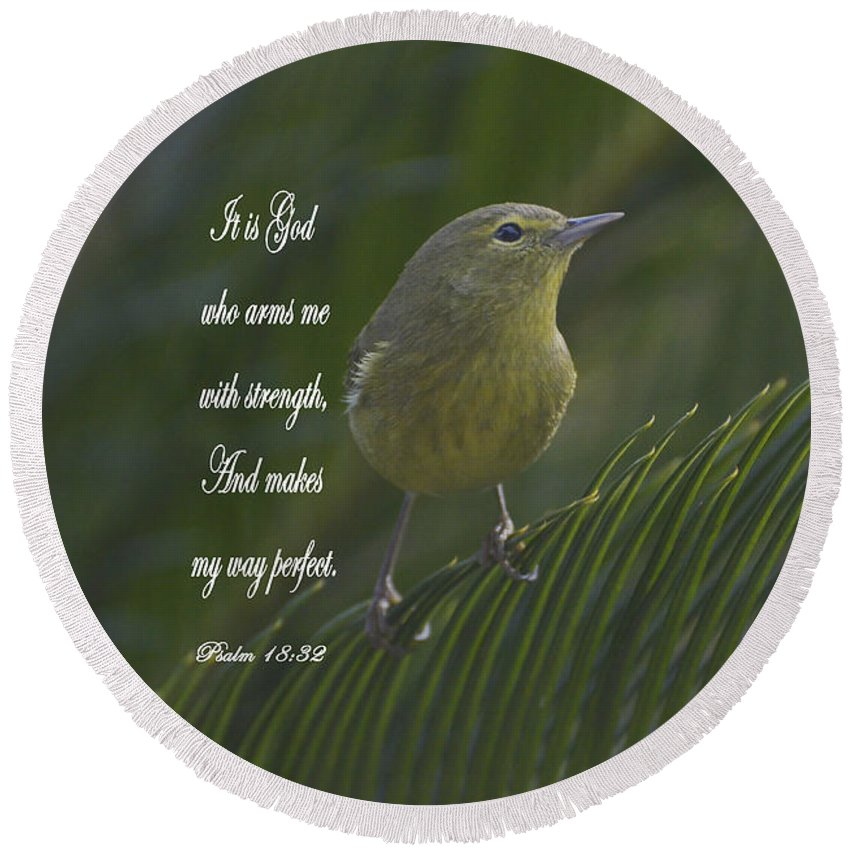 Cards Round Beach Towel featuring the photograph Psalm 18 V 32 by Debby Pueschel