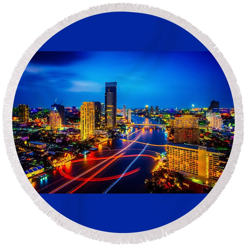 Round Beach Towel featuring the photograph Psychedelic Bangkok Thailand by Ron Fleishman