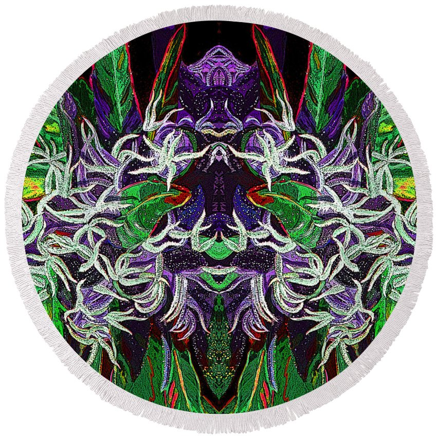 Cannabis Round Beach Towel Featuring The Digital Art Psychedelic Bud 2 By Anita Toke