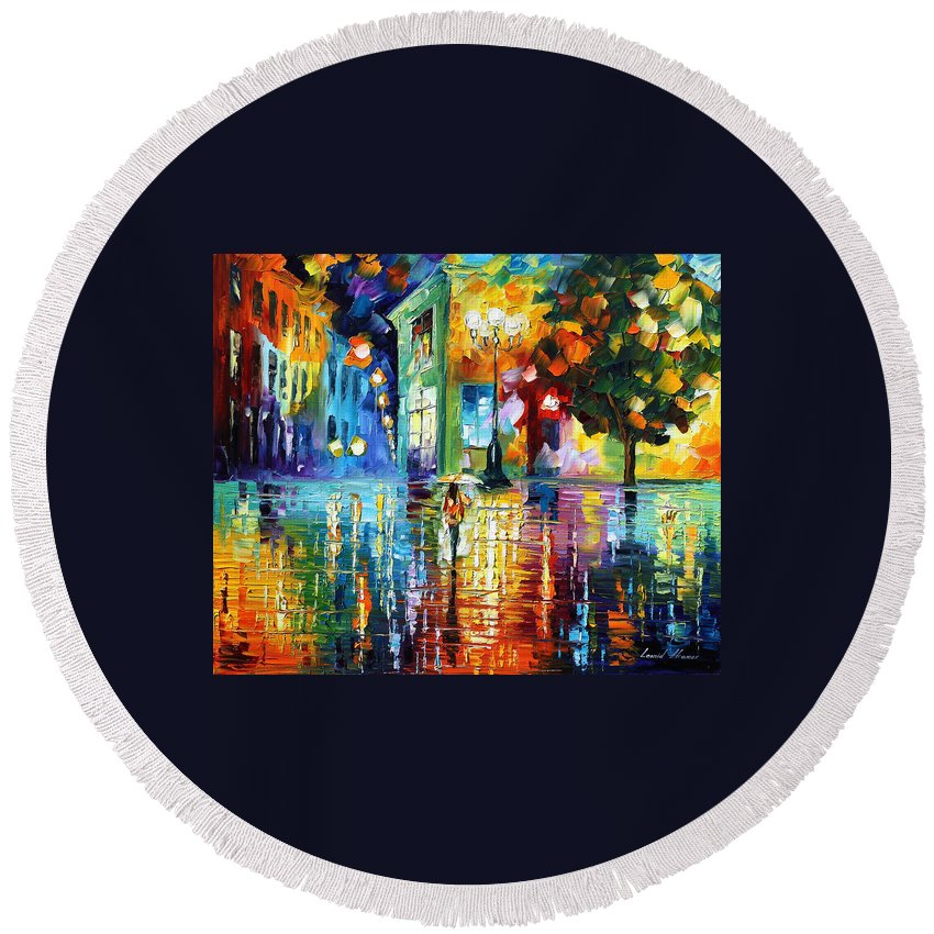 City Round Beach Towel featuring the painting Psychedelic City by Leonid Afremov