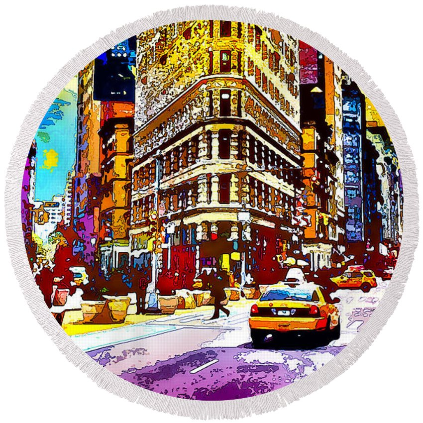 World's Round Beach Towel featuring the digital art Psychedelic Flatiron Surroundings by Ron Fleishman