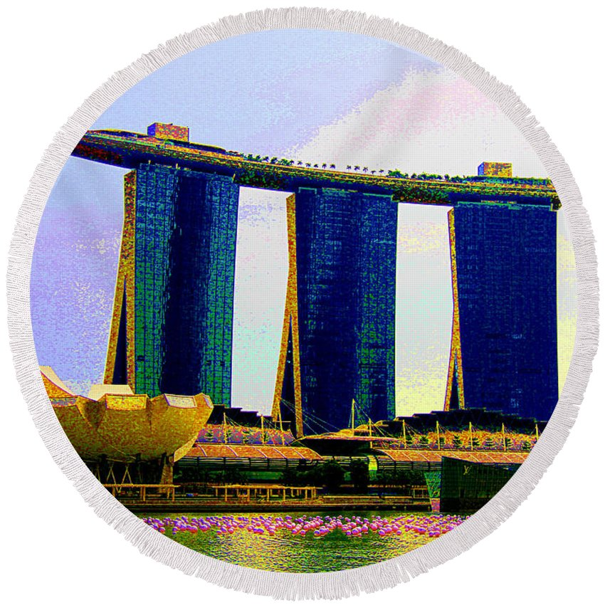 Psychedelic Round Beach Towel featuring the photograph Psychedelic Marina Bay Sands Hotel Singapore by Peter Lloyd