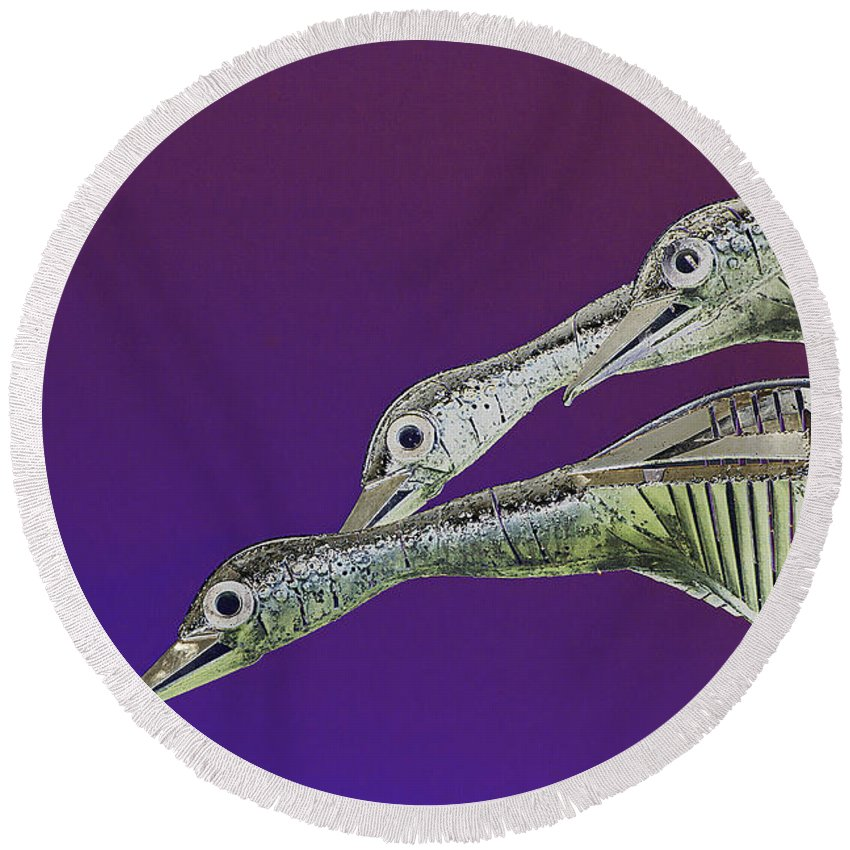 Psychedelic Round Beach Towel featuring the photograph Psychedelic Metal Sculpture Of Three Mallard Ducks Flying by Peter Lloyd