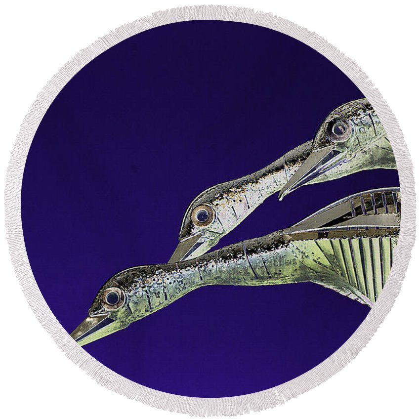 Psychedelic Round Beach Towel featuring the photograph Psychedelic Sculpture Of Three Mallard Ducks Flying by Peter Lloyd