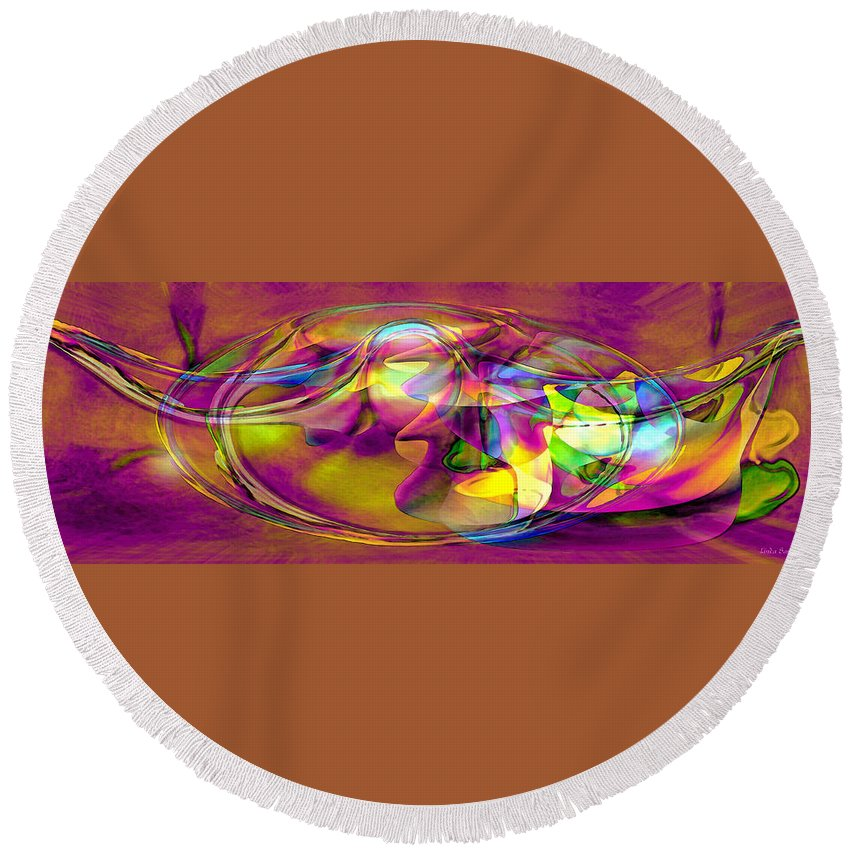 Psychedelic Sun Round Beach Towel featuring the digital art Psychedelic Sun by Linda Sannuti
