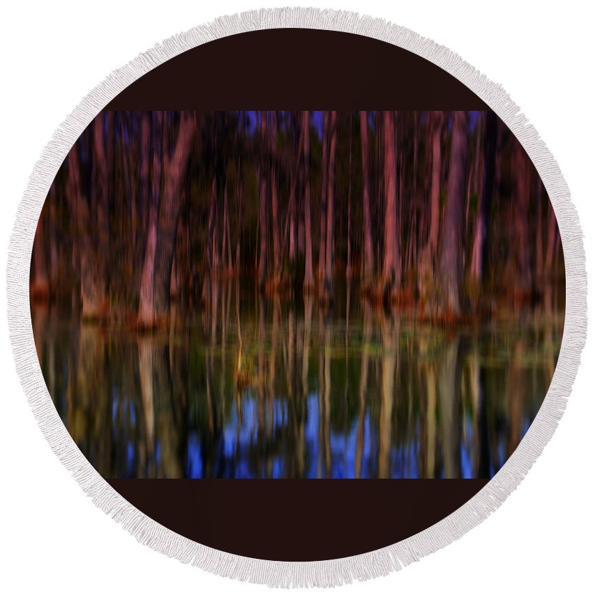 Abstract Round Beach Towel featuring the photograph Psychedelic Swamp Trees by Susanne Van Hulst