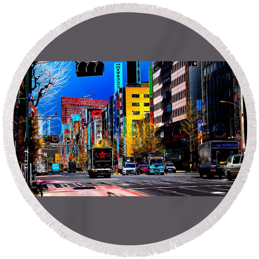 Round Beach Towel featuring the photograph Psychedelic Tokyo by Ron Fleishman