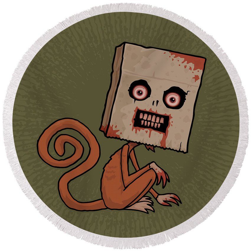 Monkey Round Beach Towel featuring the digital art Psycho Sack Monkey by John Schwegel