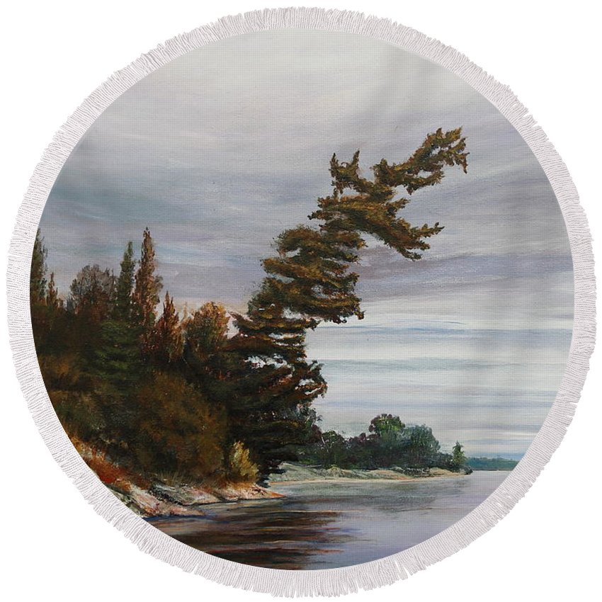 Landscape Round Beach Towel featuring the painting Ptarmigan Bay by Ruth Kamenev