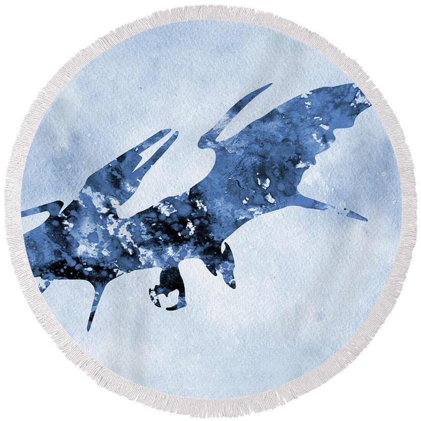 Pterodactyl Round Beach Towel featuring the digital art Pterodactyl-blue by Erzebet S