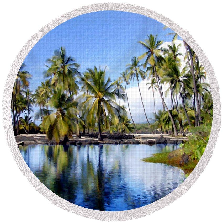 Hawaii Round Beach Towel featuring the photograph Pu Uhonua O Honaunau Pond by Kurt Van Wagner