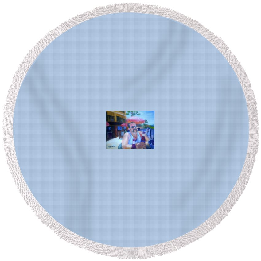 Daytona Round Beach Towel featuring the painting Pub by Sheila Mashaw