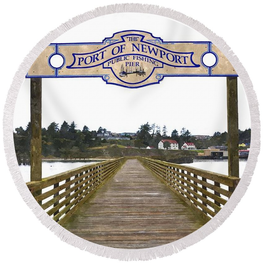 Newport Round Beach Towel featuring the photograph Public Fishing Pier by Image Takers Photography LLC - Laura Morgan