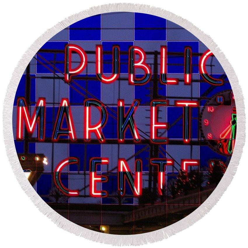 Seattle Round Beach Towel featuring the digital art Public Market Checkerboard by Tim Allen