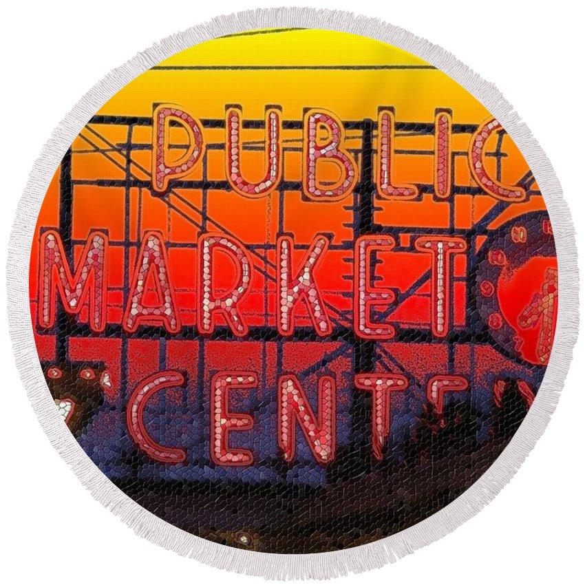 Seattle Round Beach Towel featuring the photograph Public Market Mosaic 1 by Tim Allen