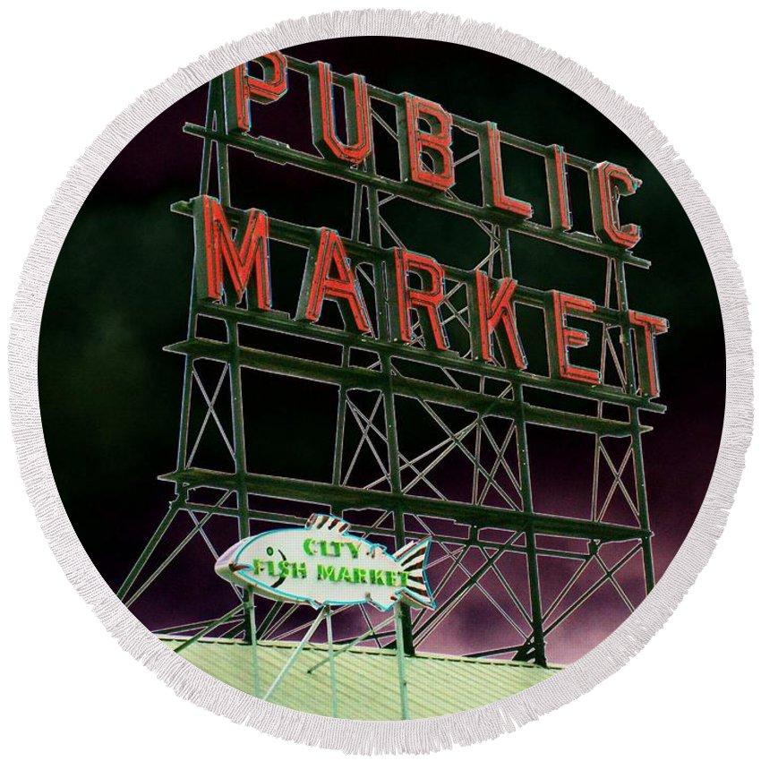 Seattle Round Beach Towel featuring the photograph Public Market by Tim Allen