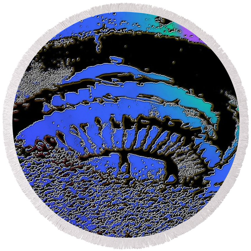 Seattle Round Beach Towel featuring the digital art Puddle Needle 2 by Tim Allen