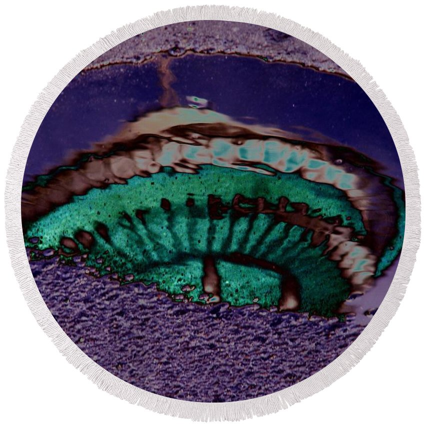 Seattle Round Beach Towel featuring the digital art Puddle Needle by Tim Allen