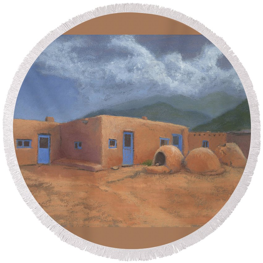 Taos Round Beach Towel featuring the painting Puertas Azul by Jerry McElroy