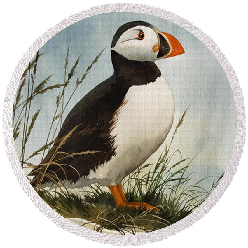 Puffin Fine Art Print Round Beach Towel featuring the painting Puffin by James Williamson