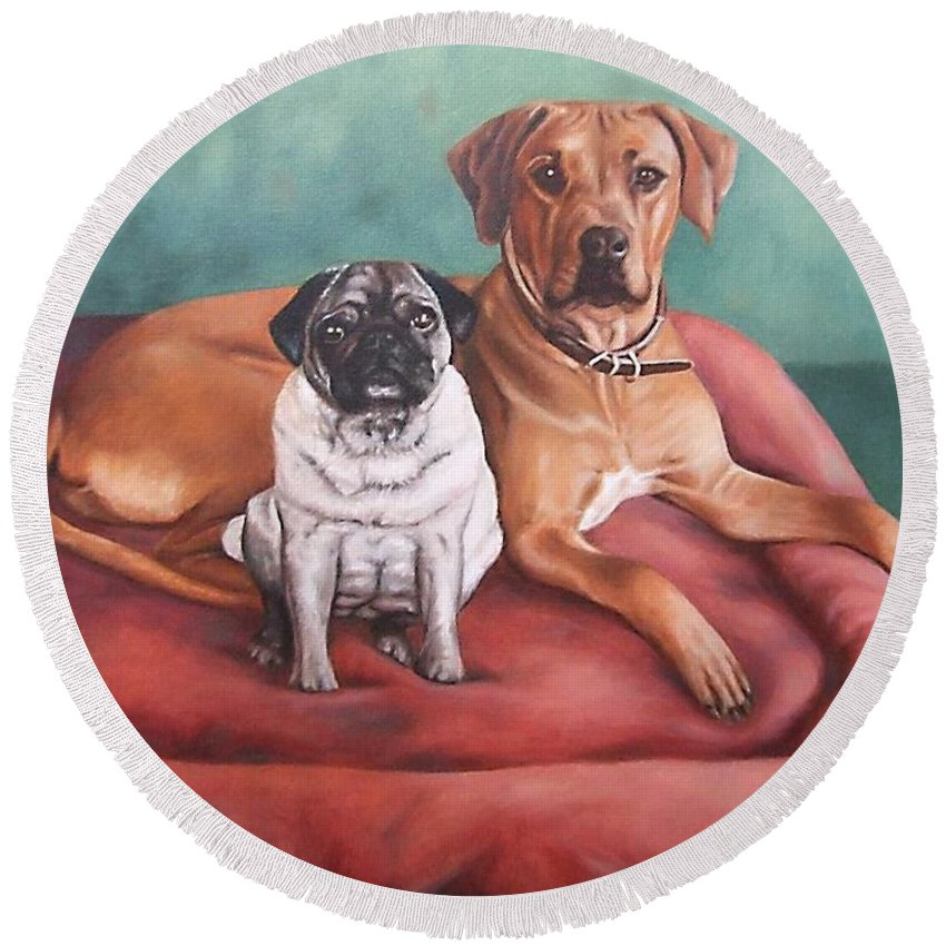 Dogs Round Beach Towel featuring the painting Pug And Rhodesian Ridgeback by Nicole Zeug