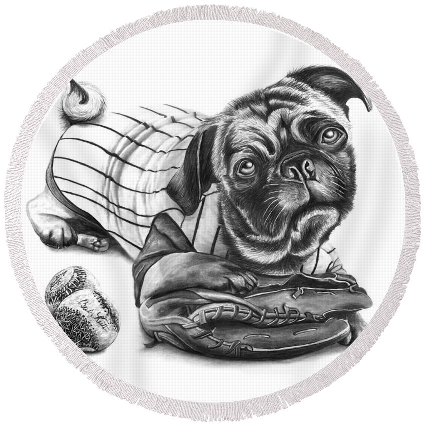 Pug Ruth Round Beach Towel featuring the drawing Pug Ruth by Peter Piatt