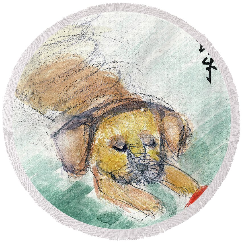 Dogs Round Beach Towel featuring the painting Puggle With Red Ball by Janet Gunderson
