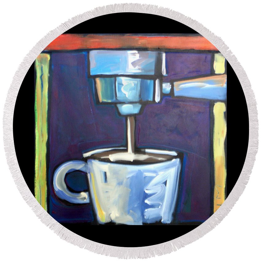 Coffee Round Beach Towel featuring the painting Pulling A Shot by Tim Nyberg