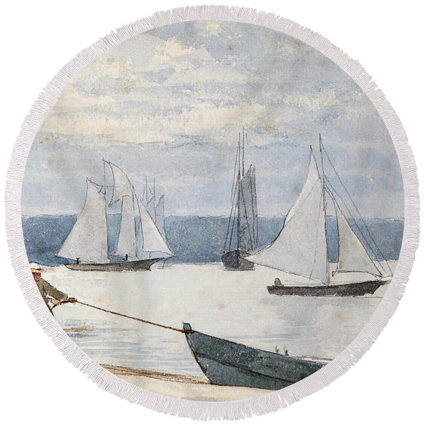 Man Round Beach Towel featuring the painting Pulling the Dory by Winslow Homer