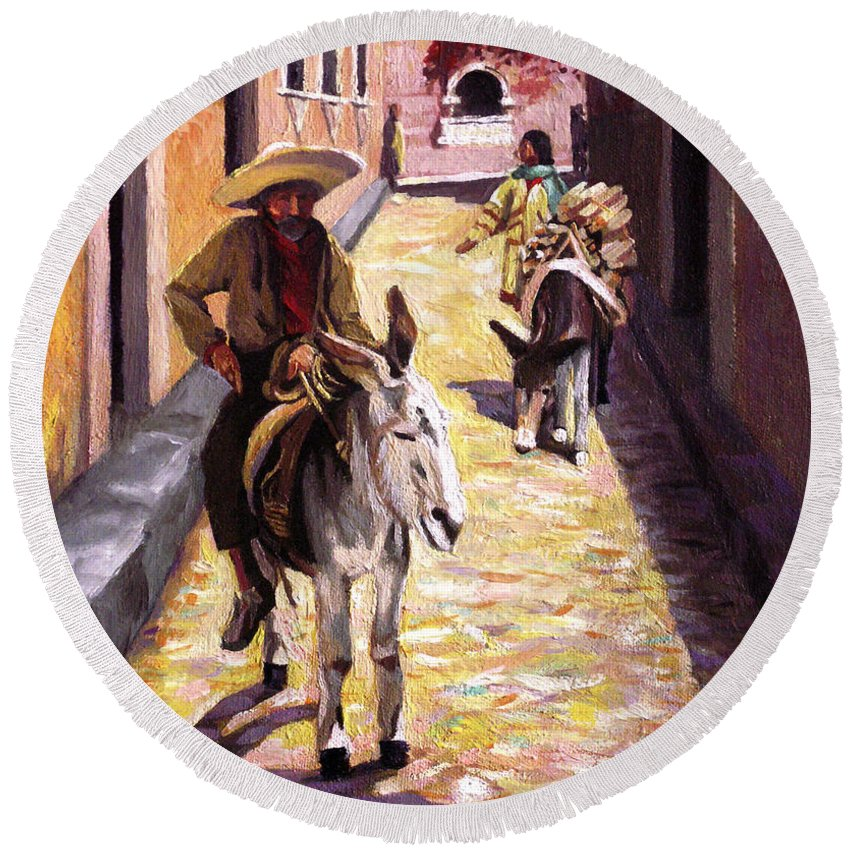 Impressionism Round Beach Towel featuring the painting Pulling Up The Rear In Mexico by Nancy Griswold