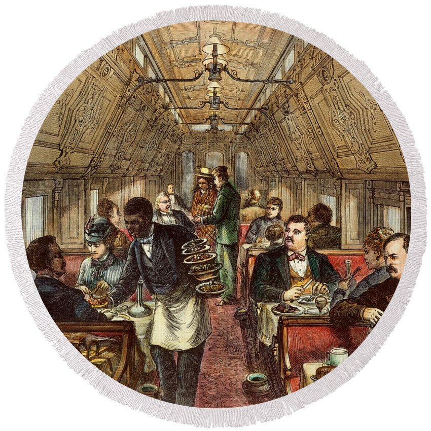 1877 Round Beach Towel featuring the photograph Pullman: Dining Car, 1877 by Granger