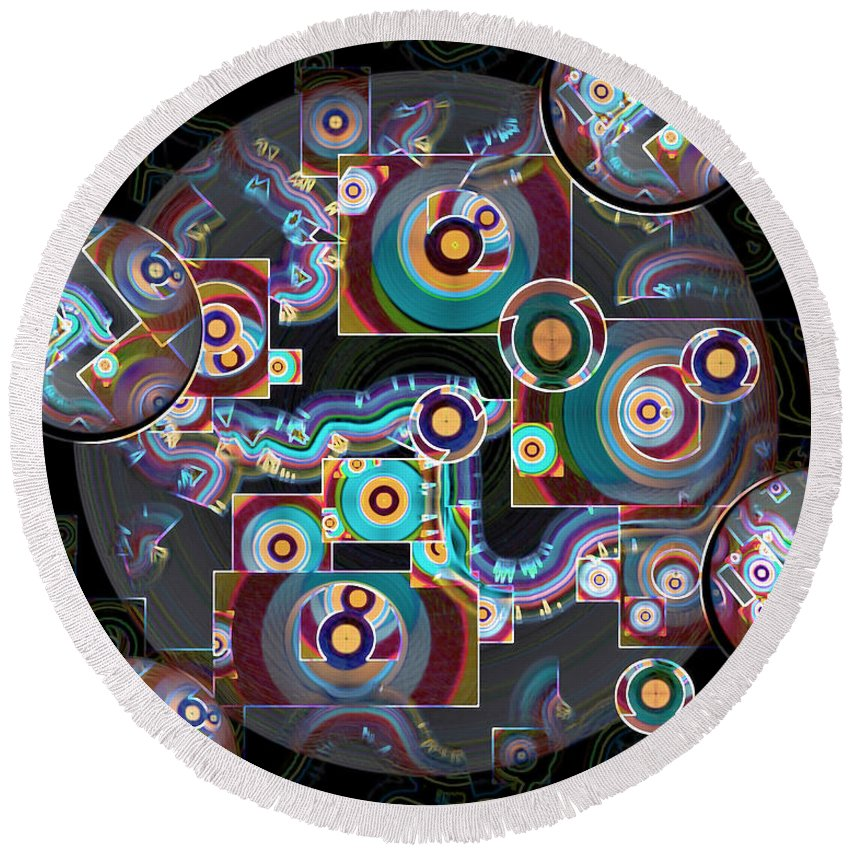 Multicolored Round Beach Towel featuring the digital art Pulse Of The Motherboard by Lynda Lehmann