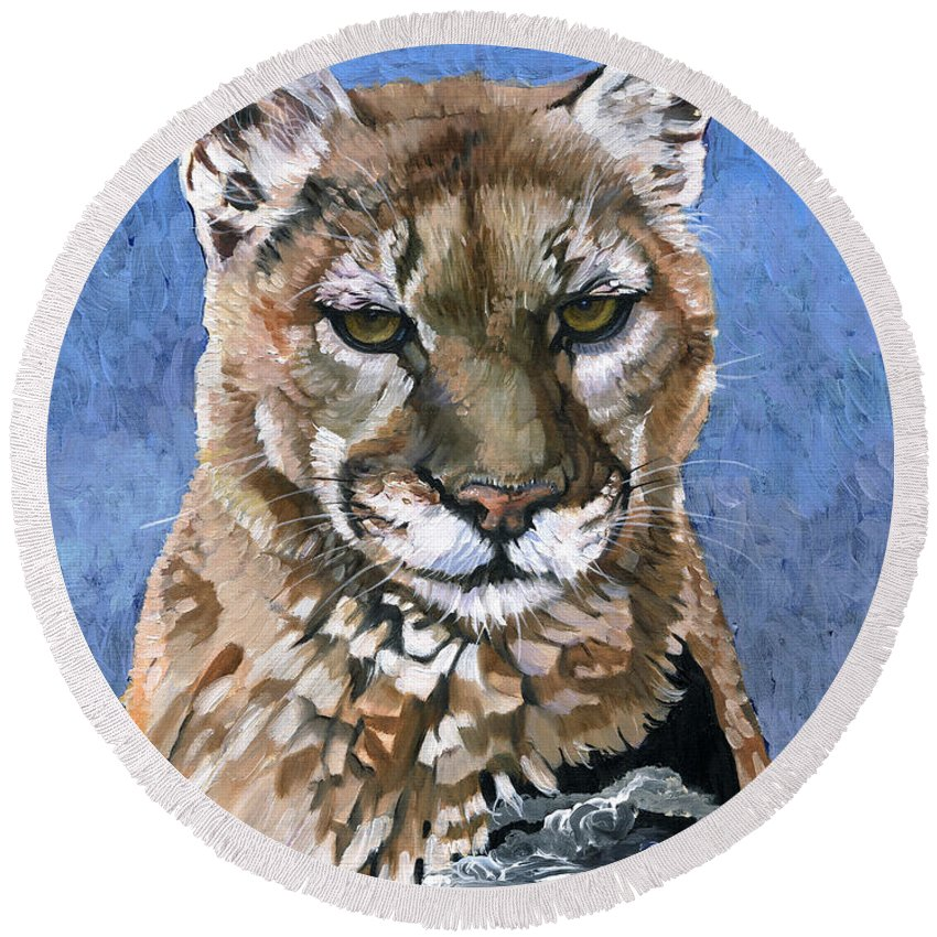 Puma Round Beach Towel featuring the painting Puma - The Hunter by J W Baker
