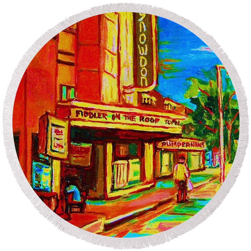 Pumperniks Round Beach Towel featuring the painting Pumperniks And The Snowdon Theatre by Carole Spandau