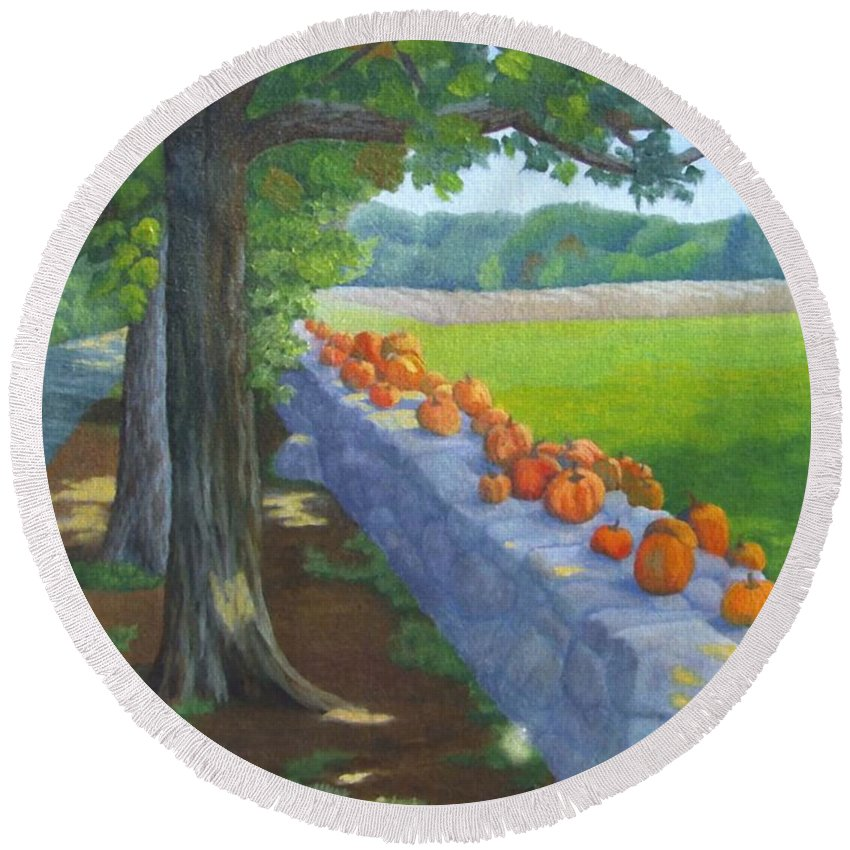 Pumpkins Round Beach Towel featuring the painting Pumpkin Muster by Sharon E Allen