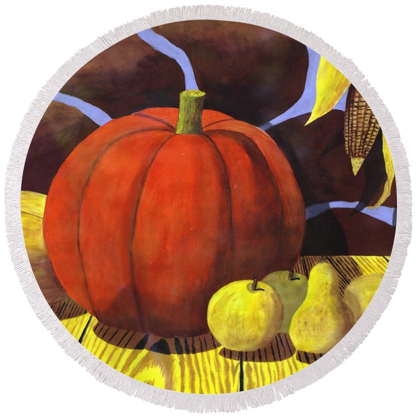 2d Round Beach Towel featuring the painting Pumpkin Still Life - Homage To Jon Gnagy by Brian Wallace