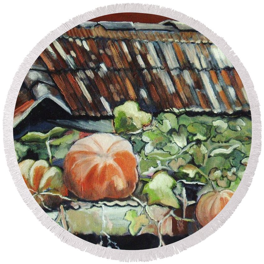 Pumpkin Paintings Round Beach Towel featuring the painting Pumpkins On Roof by Seon-Jeong Kim