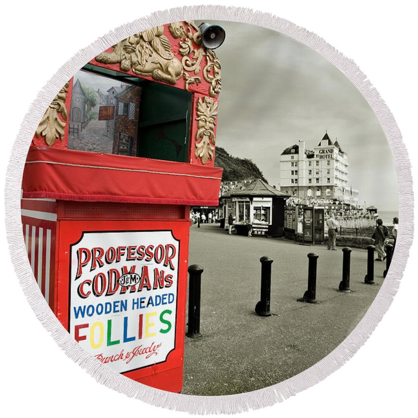 Punch And Judy Round Beach Towel featuring the photograph Punch And Judy Theatre On Llandudno Promenade by Mal Bray