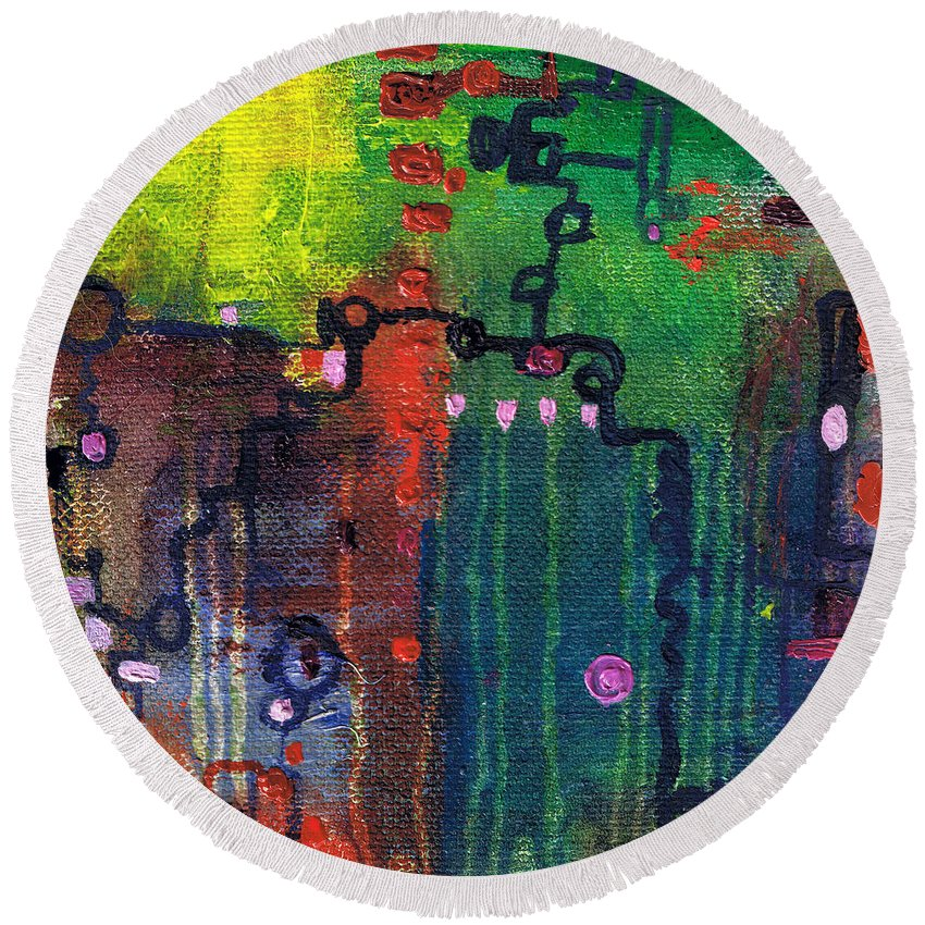 Abstract Round Beach Towel featuring the painting Punctuated Silences by Regina Valluzzi