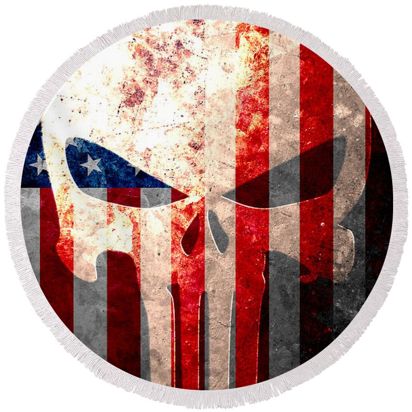 Punisher Round Beach Towel featuring the digital art Punisher Themed Skull And American Flag On Distressed Metal Sheet by M L C
