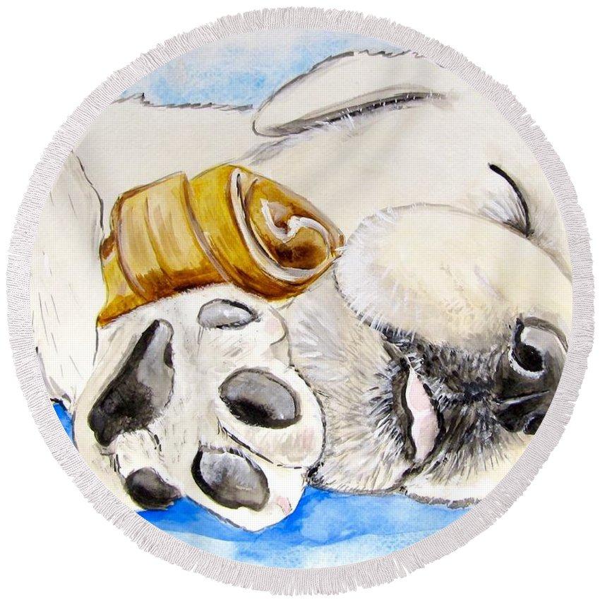 Labrador Retriever Painting Round Beach Towel featuring the painting Puppy Dreams by Carol Blackhurst