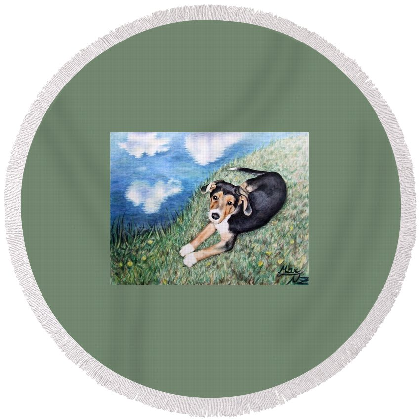 Dog Round Beach Towel featuring the painting Puppy Max by Nicole Zeug