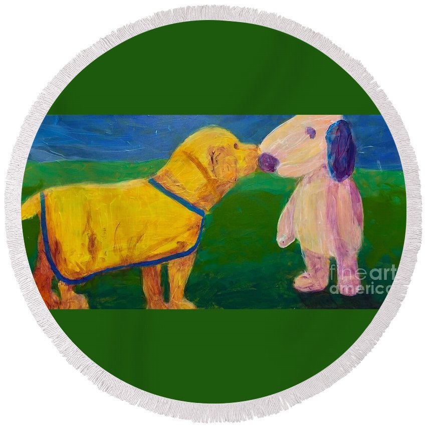 Puppy Round Beach Towel featuring the painting Puppy Say Hi by Donald J Ryker III