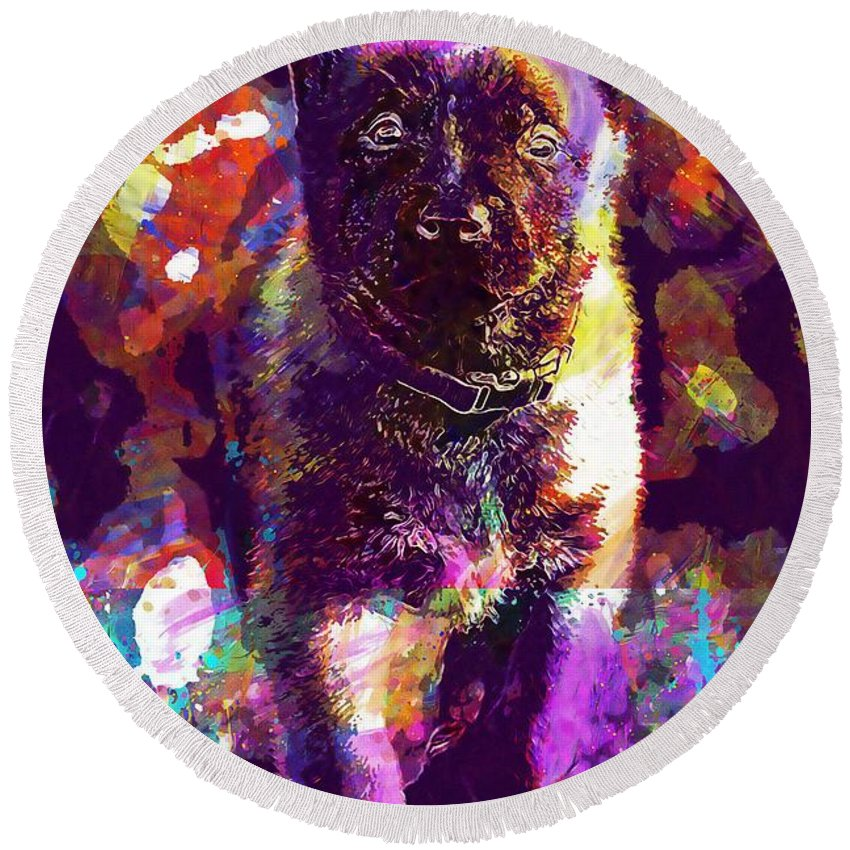 Puppy Round Beach Towel featuring the digital art Puppy Sweet Cute Dog Young Animal by PixBreak Art
