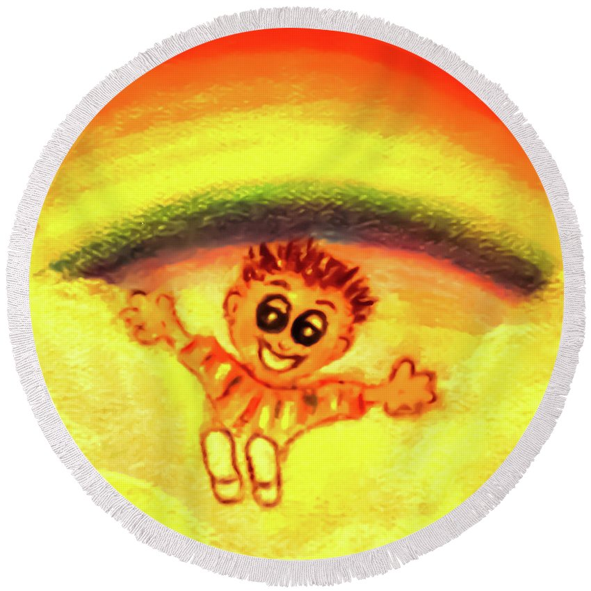 Child Round Beach Towel featuring the painting Pure Joy by Hazel Holland
