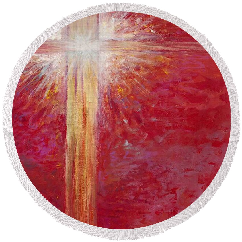 Light Round Beach Towel featuring the painting Pure Light by Nadine Rippelmeyer