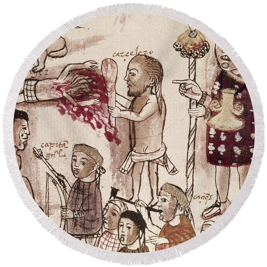 16th Century Round Beach Towel featuring the painting Purepecha People by Granger