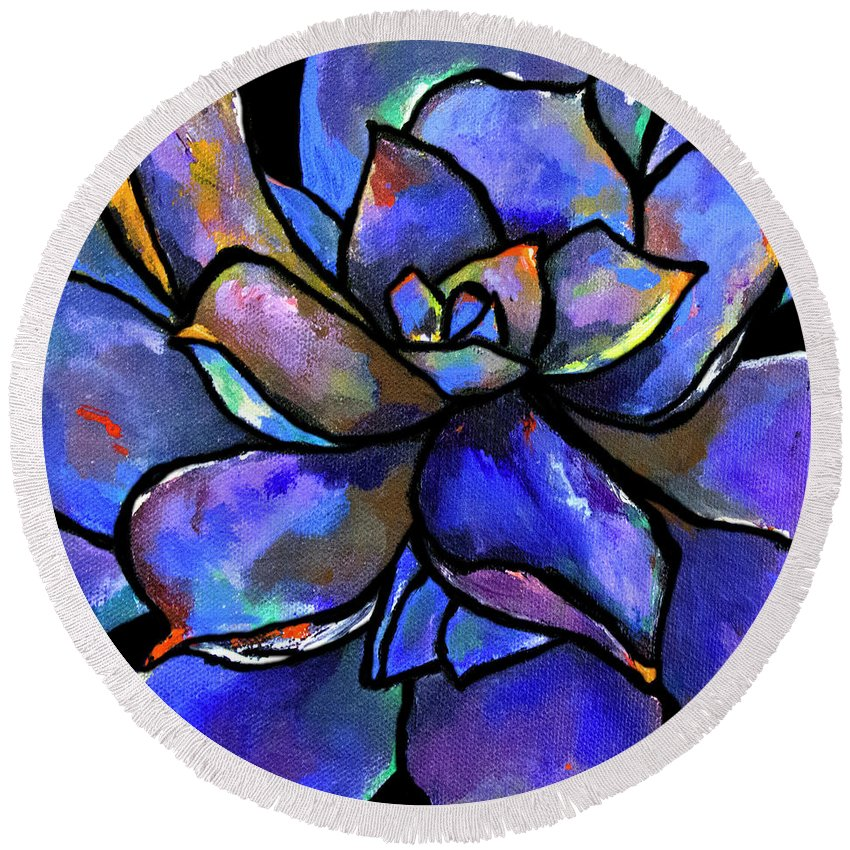 Purple Round Beach Towel featuring the painting Purple Agave by Maggie Turner