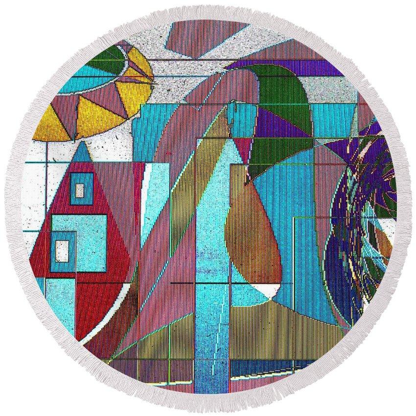 Purple Round Beach Towel featuring the digital art Purple And Blue by Ian MacDonald
