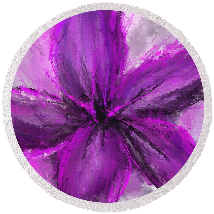 Purple Art Round Beach Towel featuring the painting Purple And Gray Art by Lourry Legarde